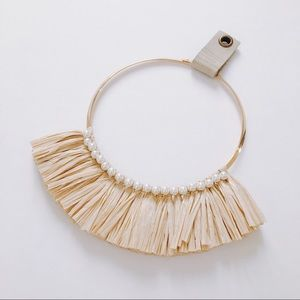 Anthropologie straw pearl fringe gold necklace
